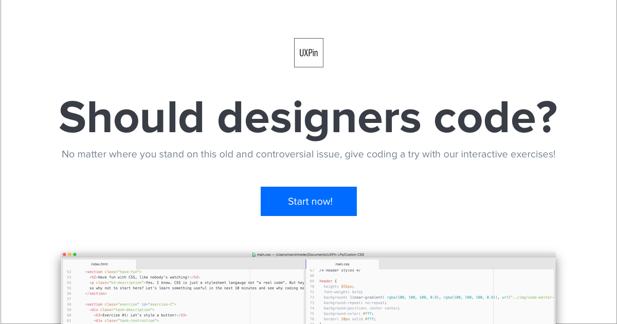 Should designers code? Interactive CSS and coding exercises for