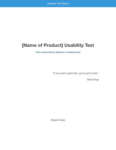 Usability Testing Report and other templates for Usability Tests – Test Templates Free