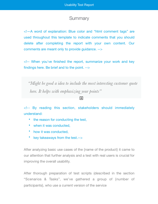 usability testing report and other templates for usability