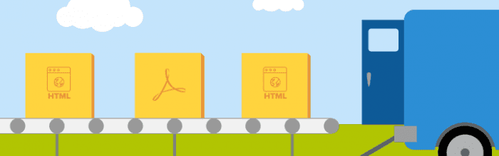 Illustration of files (down)loading onto a truck.