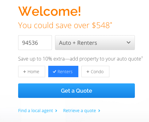 Web form that offers to save people money if they enter their ZIP code, type of insurance, etc.