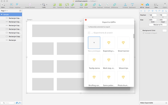 Exporting from Sketch