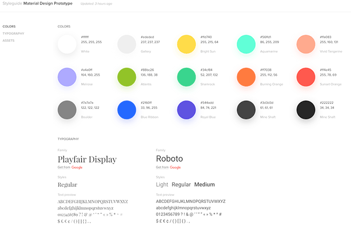 Style guide colors and typography