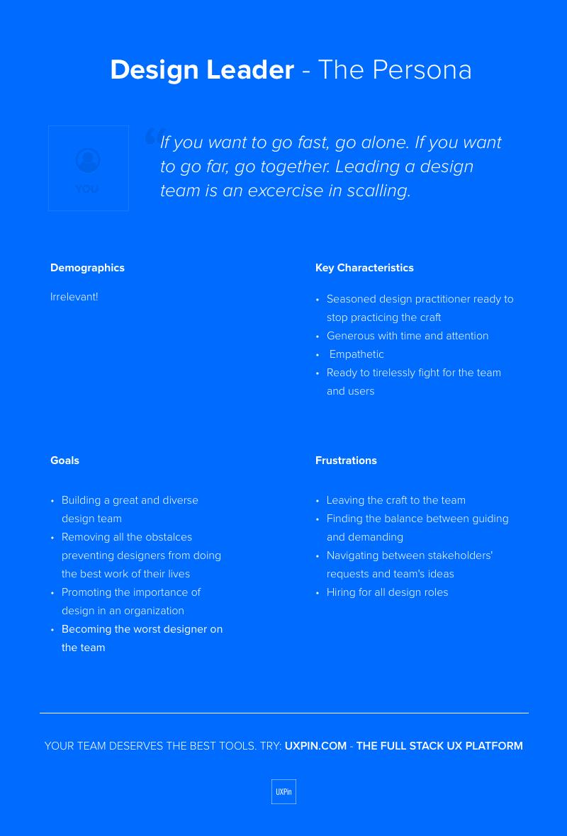 Persona File for a Design Leader
